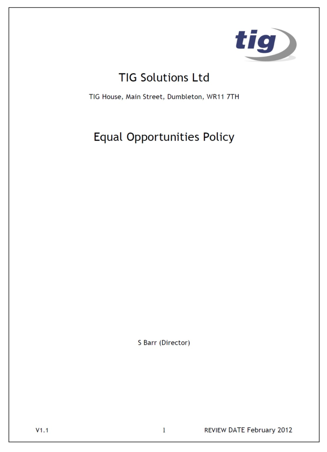ethics: equal opportunities policy